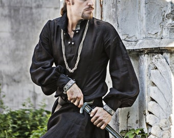 Black Medieval Linen Warrior Tunic; poet sleeve shirt; long mens shirt; long black shirt