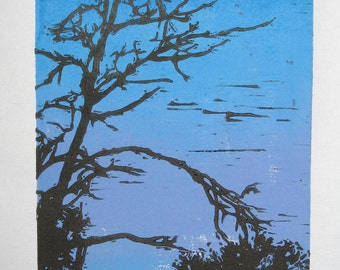 Tree Silhouette with color gradient relief linocut hand-pulled print blue and purple