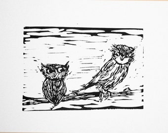Owls hand-printed linocut relief print