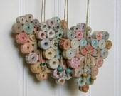 Coiled Paper Heart Ornament, Recycled and Reused Paper, Neutral Natural Pastel Hues, Handmade, Small