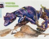 ACEO violet Gekko, original watercolour painting, Uroplatys Phantasticus