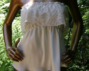 Camisole in Cream Silk Charmeuse and Cream Lace with Hand Embroidery