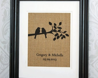 Personalized Print Love Birds on Burlap - Wedding Gift,  Anniversary Gift for Couples