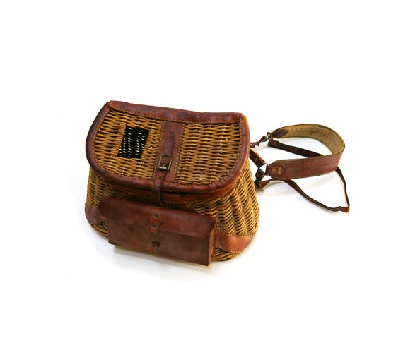 Vintage fishing creel basket with leather fixtures original for Fishing creel basket