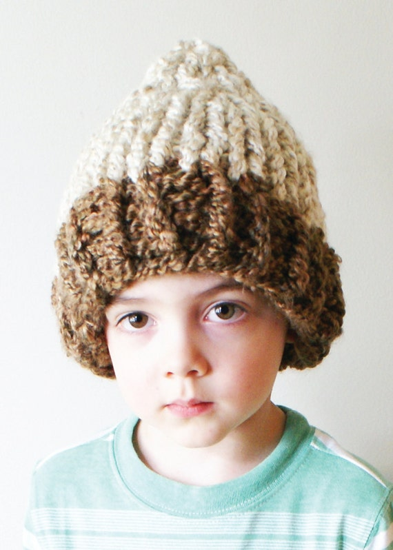 DIY Knitting PATTERN Chunky Acorn Hat in Toddler Child and