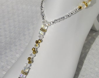 1 PAIR Gold Crystal Bridal Jewelry Foot Jewelry Pearl Barefoot Beach Sandals Foot Jewelry Anklet Destination Wedding