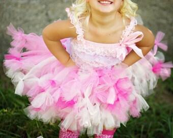 BIRTHDAY Petti TUTU, IvORY TuTu, Pink and Ivory Petti tutu, Cake Smash tutu, First Birthday tutu, EASTeR TuTuToddler Tutu,Pink Tutu Skirt