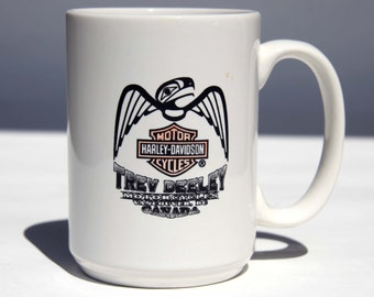 HARLEY DAVIDSON Motorcycles Eagle Totem Pole Vancouver Canada Ceramic Coffee Mug