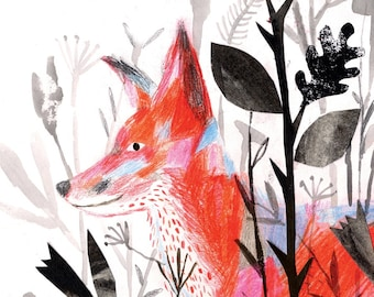 Fox art Illustrated art print, Fox in the undergrowth print (11 x 17 inches)