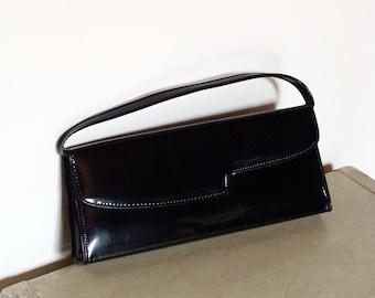 80's Patent Purse Long Black Handbag