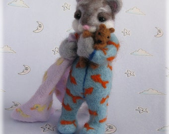 Needle Felted Cat - 'The Cat's Pyjamas' Sleepy Kitten in PJs MADE TO ORDER Art Doll Animal Model Kitty