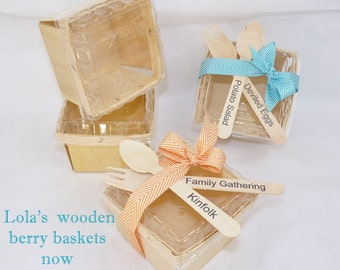 8 WOOD Berry Baskets with New LIDS & Wood stamped Fork - Spoon set- Farmers Market Crates  Perfect Pie Slice Boxes - Wedding Cake Favors