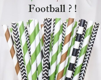 FOOTBALL Game day PARTY Paper STRAWS assorted 75 Referee Black, Football Brown, Turf Green - Tailgating - Game Day