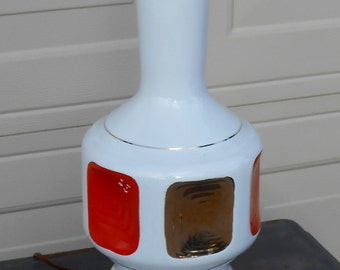 Mid Century Mod Ceramic Lamp Orange Gold White