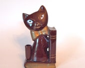 Reserved for Colie - Vintage Hand Painted Ceramic Brown Cat Book End/Figurine - Japan Circa 1950's