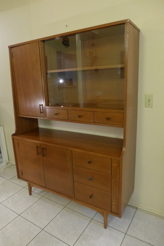 Reserved for Anna Mid Century Modern Walnut China Cabinet by