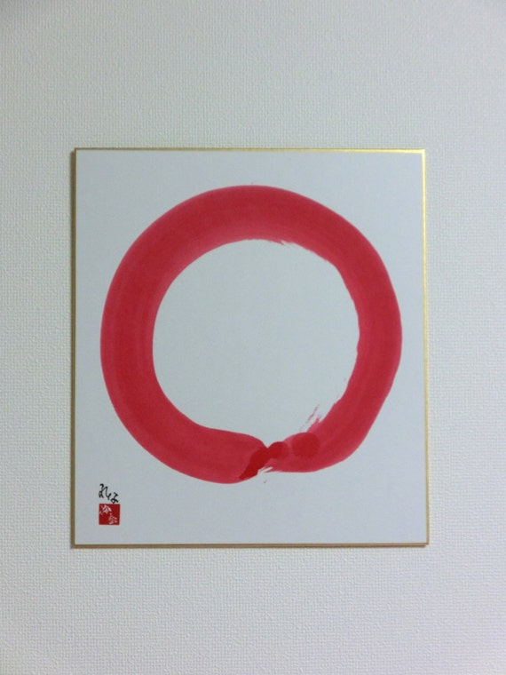 Original Enso Zen Painting Throw Pillows: Enso Red Original Japanese Calligraphy Zen Circle By LennaArty
