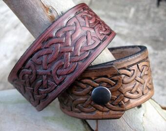 Celtic knotwork design handmade real leather wrist cuff.