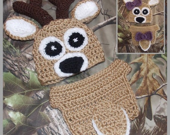 "Daddy's Little ""Dear"" - Crocheted Newborn Deer Hat & Diaper Cover Pattern ... Instant Download"