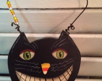 Corney the Smiley Black Cat Cupboard Protector/Hanger Hand Crafted and Painted