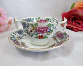 1900s Vintage Booths English Bone China Footed Cream Soup Bouillon Bowl and Saucer - 6 Available