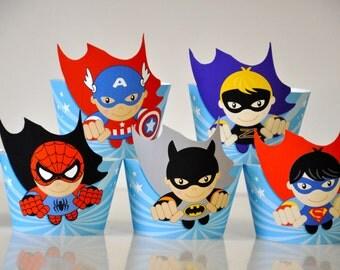 Super Heroes party cupcake wrappe rs & flash toppers with flying ...