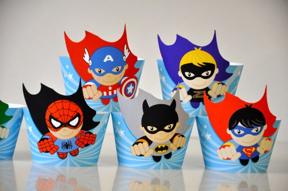 6 Super Heroes Party Cupcake Wrappers Amp Flash By