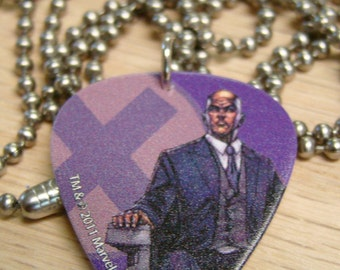 Professor X Guitar Pick Necklace with Stainless Steel Ball Chain