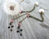 Bronze long chain Dangle Cross peach pink crystal Freshwater Pearl handmade earrings Christian Religious jewelry
