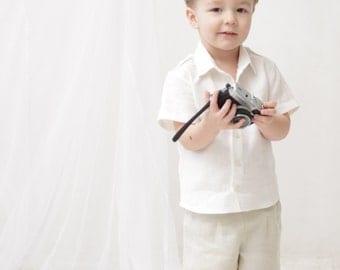 Baby boy shorts Toddler boys pants Linen shorts Ivory Linen pants Boys trousers Summer pants Boys clothes Diaper cover
