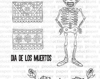 Day of the Dead Hombre Clear Rubber Stamp Set