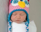 SALE Ready to Ship 0-3 months Crochet Owl Hat Baby Girl Owl Hat Pink and Aqua