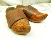 2 Antique French / Breton Child's Wooden and Leather Clogs / Primitive Rural  France / Decorative / Brittany / Westen / Traditional Costume