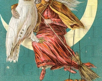 Wonderful White Owl and Witch. HALLOWEEN Digital Download. VINTAGE Illustration. Vintage Halloween. Digital Halloween. Digital Witch