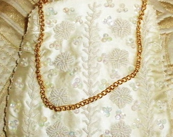 Vintage Wedding ivory satin decorative handbag beautifully beaded sequined and embroidered with gold chain strap