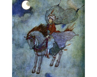 Magic Horse Fabric Block - Prince of Persia Flies under Full Moon - Edmund Dulac