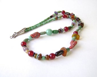 Turquoise Necklace, Boho Necklace, Hippie Love Beads, Hippie Necklace, Gemstone Jewelry, Mixed Gems, Silver, Ethnic Jewelry, Green Turquoise