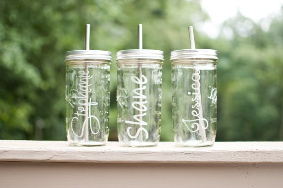 1 Custom Etched 24oz Mason Jar To Go Cup W/ Stainless Steel Straw Teacher Gift Fits in Cup Holders Eco Friendly