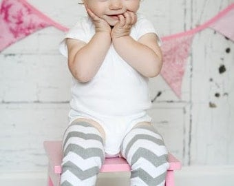 Gray Chevron Leg Warmers Baby Outfit  leggings pants with tulle ruffles