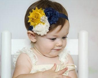 Baby headband, Navy mustard yellow Shabby Headband, Shabby Chic headband, Baby headbands, Baby girl headband, toddler headband