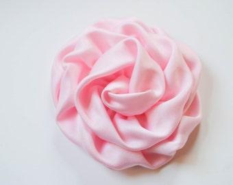 "Single 3"" Pink Rolled Satin Rose Hair Clip Matches Cupcake Tutu Dress"