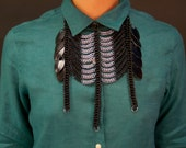 Chainmaille Native American inspired Necklace Gunmetal and Black Scales