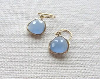 Pastel Blue Earrings, Dainty Pretty Gold Dangle Earrings