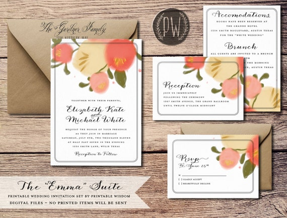 Printable Wedding Invitation Suite Floral wedding invite vintage style, rustic wedding RSVP enclosure, DIY invitation set - Do it yourself