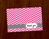 Pink Chevron 4x6 Printable Thank You Card