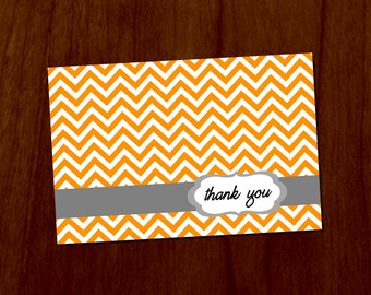 Orange Chevron 4x6 Printable Thank You Card