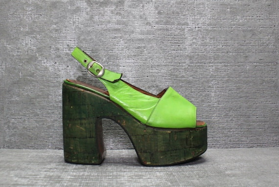 vtg 70s lime green leather boho cork platform shoes by