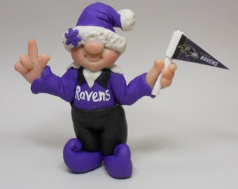 Adorable Baltimore Ravens inspired NFL elf handmade  polymer clay ornament or figurine