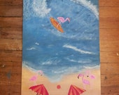"""Flamingo Beach Original acrylic painting 24""""x48"""""""