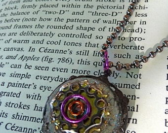 Ice resin collage steampunk flavored pendant necklace